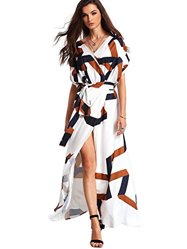 ROMWE Women's Bohemian Short Sleeve V neck Long Beach Wrap Maxi Dress White L