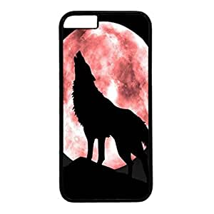 iPhone 6 Plus Case,Fashion Durable Black Side DIY design for Apple iPhone 6 Plus(5.5 inch),PC material iPhone 6 Plus Cover ,Safeguard Phone from Damage ,Designed Specially Pattern with Howling Wolf Red Moon . by mcsharks