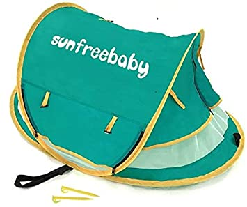Sunfreebaby Baby Beach Tent – Easy Popup for Travel, Camping, Canopy- Total Anti UV Infant Sun Protection