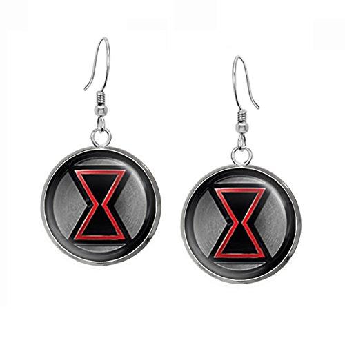 Black Widow Earrings, The Avengers Necklace, Captain America Shield Pendant, Superhero Jewelry Earrings Gifts Gift, Geek Geeky Present Presents ()