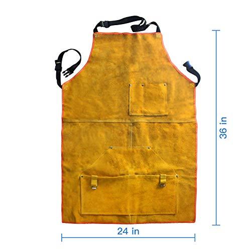Leather Welding Apron Flame-Resistant Heat Resistant Work Apron Fire Resistant Welding/Welder Smock, 24 x 36 Inch, 6 Pockets by Handook (Image #6)