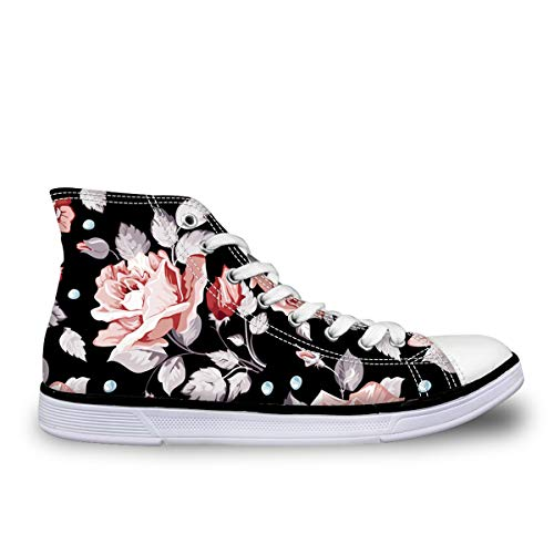 LedBack High Top Vintage Floral Printing Canvas Shoes for Women Causal Sneakers Teenagers Girls Lightweight 3D Trainers Size 5-11