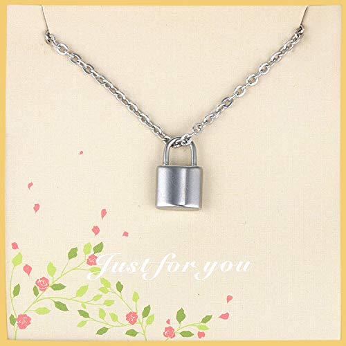 YGEFF Lock Pendant Necklace 2019 Style Stainless Steel 18 Inches for Women Girls