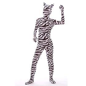 - 41VIYdeUFEL - Nedal Lycra Spandex Zebra Bodysuit Halloween Skin Suit Animal Costume
