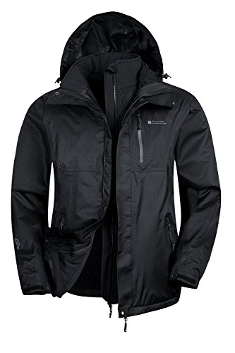 Mountain Warehouse Bracken Extreme 3in1 Mens Jacket –Durable Raincoat Black XXX-Large (Raincoat Patterned)