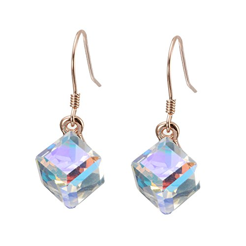 (Crystal Drop Dangle Earring Color Crystals Earring Magic Fashion Crystal Cube Earrings for Women Girl (rose-gold-plated-copper) )