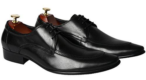 Santimon Black Shoes for Mens Lace Leather Blucher Modern Classic Oxford Casual Dress Shoes by 8.5 D(M) US ()