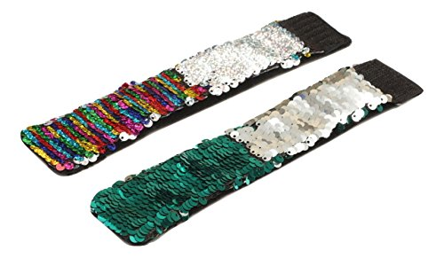 Sparklee Me Mermaid Sequin Color Changing Reversible Bracelet/Elegant Adjustable Wristband (Silver Iridescent & Sea Green Silver)