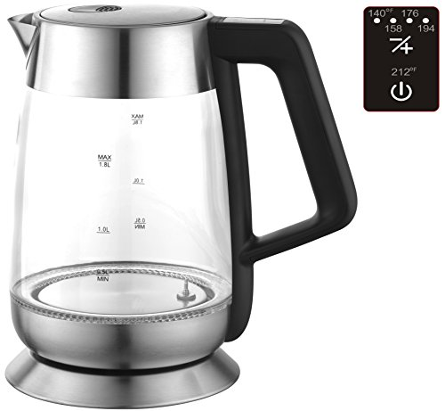 Ovente 1.8 Liter BPA Free Glass Cordless Electric Kettle with Temperature Control, Stainless Steel (KG66S)