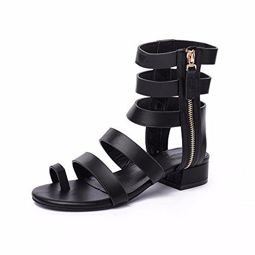 piatti EU New EU punta Moda European comoda YMFIE 39 35 sandali Sexy cerniera Summer laterale qvnfwE6
