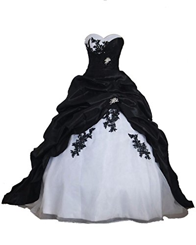 Babygirls Wedding Dress Black Red and White Sweetheart with Train Bride Gown Black White US 22W