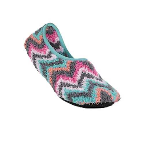Super+Soft+Cozy+Slippers+with+Slip-Resistant+Bottom+Sole+%28Small+%28Womens+5.5-7%29%2C+Charcoal+Fuschia+Chevron%29