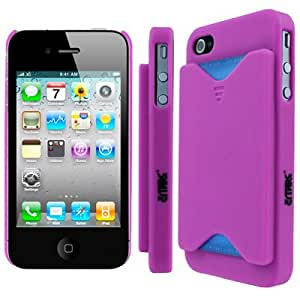 For Apple iPhone 4 / 4S Credit Card Holder Hard Case Cover (Hot Pink)