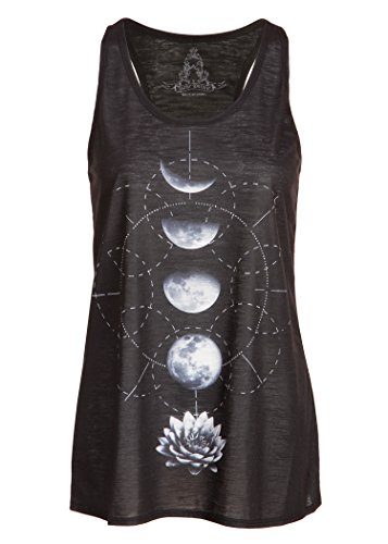 Pretty Attitude Womens Black Lotus Flower Moon Phases Yoga Loose Fit Tank Top – Size Small