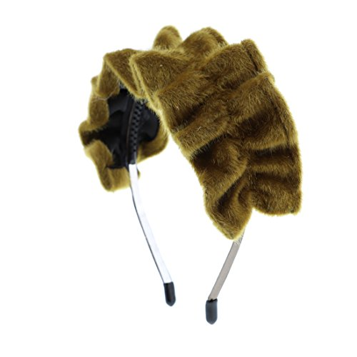Fashion Girls Headband Fur Fuzzy Ruffle Hairband (Gold)