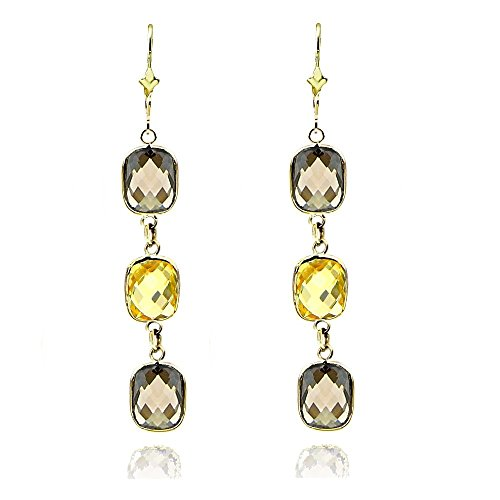 14k Yellow Gold Gemstone Earrings with Cushion Cut Citrine And Smoky Quartz Stations (Chandelier Smoky Earrings Topaz)
