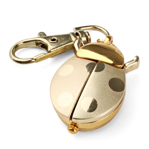 Vavna Gold Quartz Analog Keychain Key Ring Watch Pendant Golden Ladybug Lady Bug Po