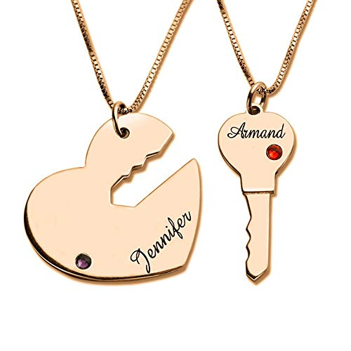 925 Sterling Silver Key to My Heart Necklace for Couple Engraved with 2 Names and Birthstone Personalized Key and Heart Necklace Set in Rose Gold on Valentines Day