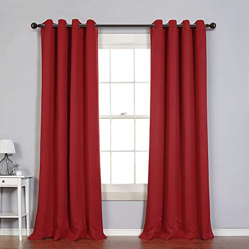 MYSKY HOME Solid Grommet top Thermal Insulated Window Blackout Curtains for Dining Room, 52 x 84 Inch, Red, 1 Panel (Red Curtains Suede)