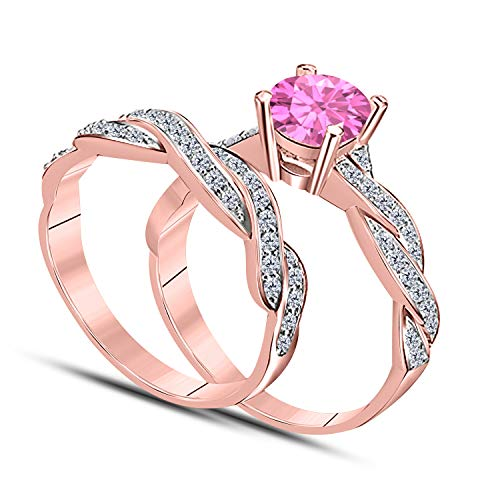 (DreamJewels Infinity Twist Style 1.00 CT Lab Created Pink Sapphire Round Shape 14k Rose Gold Plated Wedding Engagement Bridal Set Ring Ladies)