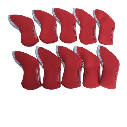 10 pcs Golf Iron Head Cover / Nylon Golf Club Iron Putter Headcover – Red, Outdoor Stuffs