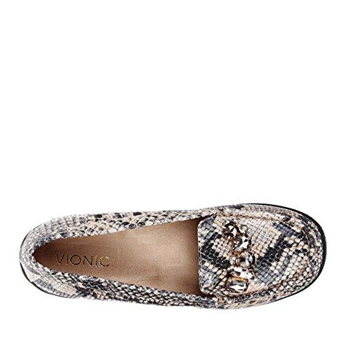 Vionic–encanto del Pacífico Orthaheel Moc Toe zapatos de Mocasines. Natural Snake