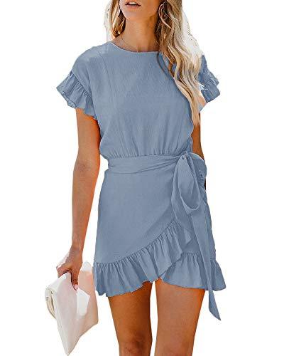 Youxiua Womens Wrap Ruffle Dresses Short Sleeve Casual Party Empire Waist Belts Mini Dress