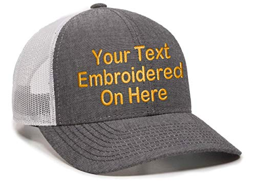 3967dcc5f Custom Trucker Mesh Back Hat Embroidered Your Own Text Curved Bill  Outdoorcap (Heathered Black/White)
