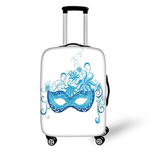 Travel Luggage Cover Suitcase Protector,Masquerade,Venetian Style Mask Majestic Impersonating Enjoying Halloween Night Theme,Blue and Sky Blue,for -