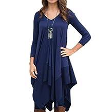 Womens Asymmetrical Casual Feminine Long Sleeve Tunic Shirt Dress