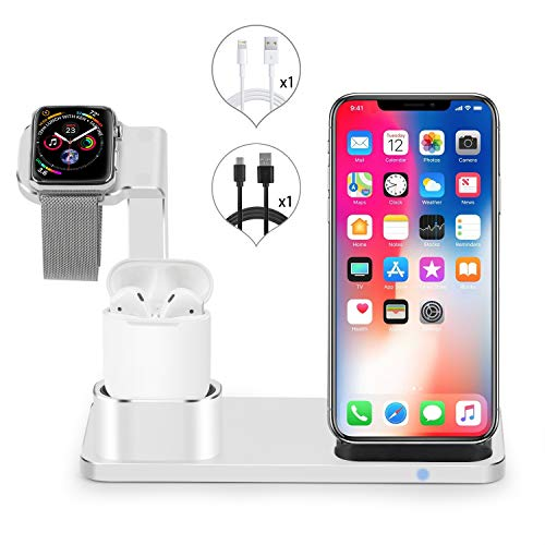 (Kuvcco Wireless Charger Watch Stand, 3 in 1 Fast Wireless Charger Charging Stand Docks Station for iWatch Series 4/3/2/1 iPhone Xr/Xs/X/Xs MAX /8/8+/Charge AirPods with Case)