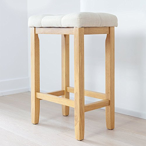 Wood Kitchen Counter Barstool - Backless Upholstered Saddle Seat, 24 Inch - Beige Cushion - Natural Finish - Kitchen Natural Wood Bar Stool