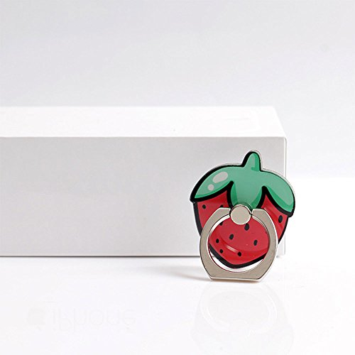 Hanbaili Soporte para teléfono celular, frutas de colores anillo de dedo de agarre anti gota soporte Soportes de coche para iPhone iPad Tablet Samsung LG Strawberry