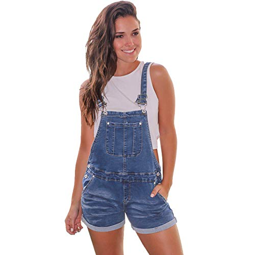 Scioltoo Women's Youth Classic Twill Short Overalls bib Strap Overall Shorts Jumpsuit A-Navy Blue M