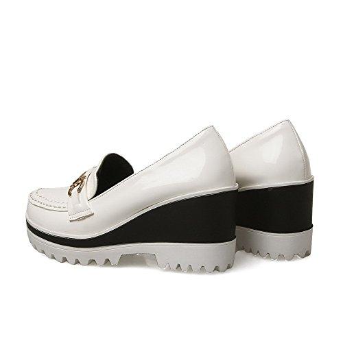 Tacchi Solidi Donne Bianche Amoonyfashion Tirare scarpe Pompe Punta Chiusa Sulla Pelle Verniciata Rotonda Tx8qz6
