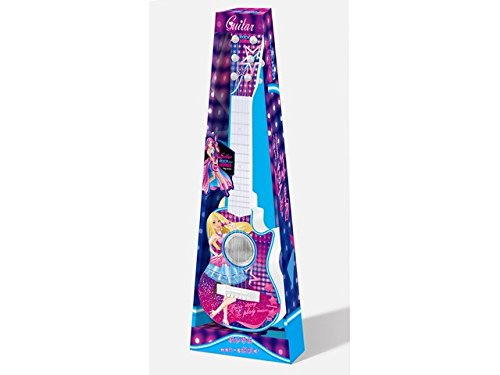 NBD 6 String Beautiful Multi – Color Plastic Toy Guitar for Girls, Great Rock N Roll Guitar with Easy ON/Off Switch with Fun Percussion Option, Teaches Kids About Rhythm, Strumming and Other Musical