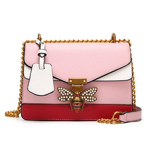 Bolso Pequeños Body Bag Pink Bolsa Perla Bolsos Cadena Cross Mini Móvil Mujeres Colores Abeja Cuero De Teléfono Hombro Correa Las 4 Ancha TIwxqAxdU