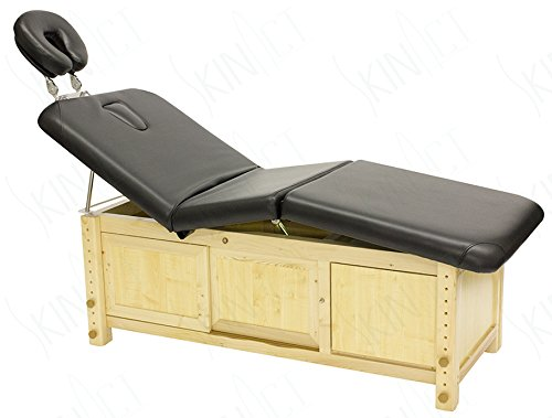 Skin Act Supreme Edition Wooden Frame Massage Table with Adjustable Hight (Black)