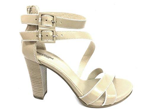 17580 SABBIA Scarpa donna sandalo tacco Nero Giardini pelle made in italy