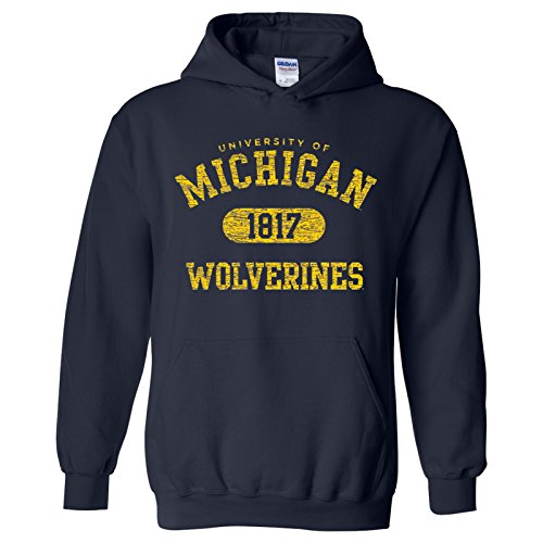 AH20 - Michigan Wolverines Athletic Arch Hoodie - Medium - Navy