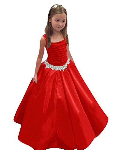 QueenBridal Satin Flower Girl Dresses Strapless Pleated Pageant Ball Gown (Red Satin Strapless Dress)
