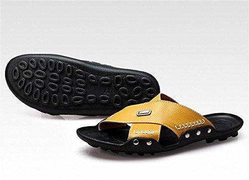 Insun Sandal Slipper Stiching Leather Yellow Men's 1xRfIH1qrw