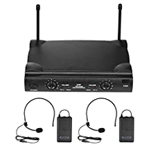 Andoer UHF Dual Channels Wireless Microphone Mic System with 2 Bodypack Transmitter 2 Headset Microphones 1 Receiver 6.35mm Audio Cable Power Adapter for DJ Karaoke