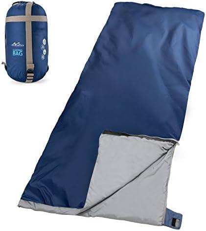 MoKo Camping Sleeping Bag, Portable Lighweight Waterproof Envelop Sleeping Bag with Compression Sack for Hiking, Backpacking, Traveling, Trekking, Outdoor Activities – Indigo
