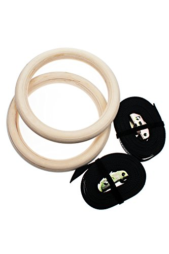 Wooden Gymnastic Rings with Straps Exercise Gym Rings Crossfit Gymnastics...