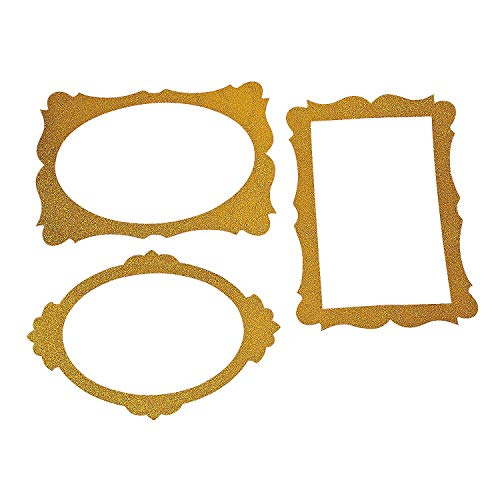 Gold Glitter Picture Frame Cutouts - 3 Piece Set - 16