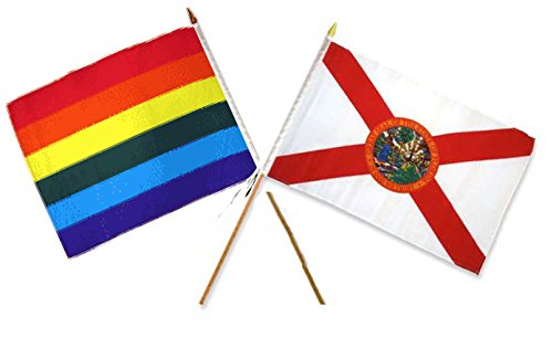 ALBATROS 12 inch x 18 inch Rainbow Gay Pride Florida State Stick Flag for Home and Parades, Official Party, All Weather Indoors Outdoors ()