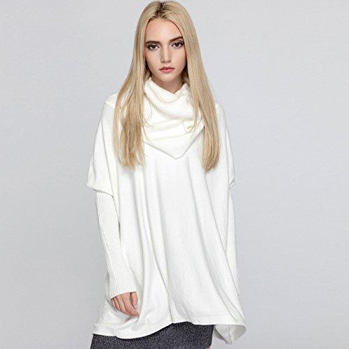 XIU*RONG Tejido Suelto Cuello Polo Sweater Chica Gris F white
