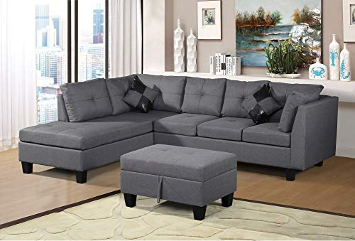 Fabric Sectional Ottoman - Harper & Bright Designs Linen Fabric 3 Piece Sectional Sofa Set with Chaise Lounge, Storage Ottoman, Backrest Cushion and 2 Throw Pillows
