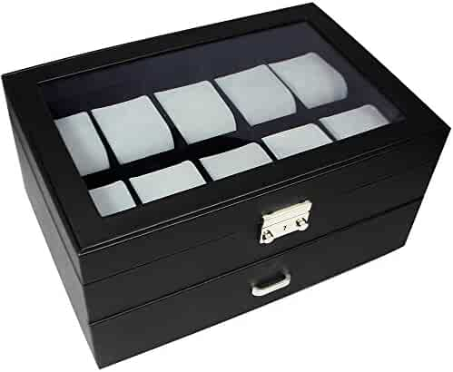 Ikee Design Watch Display Case Silver Color Key Lock, Clear Glass Tops.